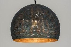 hanglamp 12130 landelijk rustiek modern metaal zwart bruin meerkleurig rond