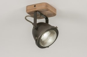 plafondlamp 12135 industrie look landelijk rustiek stoer raw hout metaal zwart oldmetal (gunmetal) rond vierkant