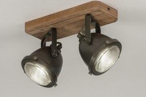 plafondlamp 12136 industrie look landelijk rustiek stoer raw hout metaal zwart oldmetal (gunmetal) rond vierkant