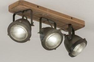 plafondlamp 12137 industrie look landelijk rustiek stoer raw hout metaal zwart oldmetal (gunmetal) rond vierkant langwerpig