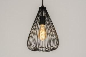 hanglamp 12138 modern eigentijds klassiek landelijk rustiek zwart mat metaal rond