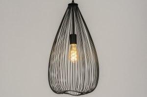 hanglamp 12140 modern eigentijds klassiek landelijk rustiek zwart mat metaal rond