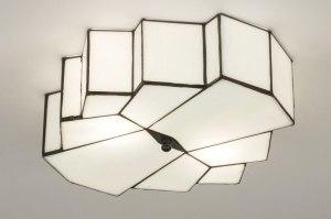 plafondlamp 12147 eigentijds klassiek art deco glas wit glans