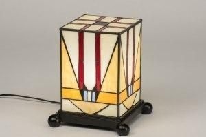 tafellamp 12148 klassiek eigentijds klassiek art deco glas meerkleurig rechthoekig