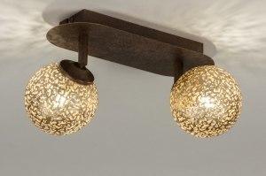 plafondlamp 12169 klassiek eigentijds klassiek bruin brons roest bruin goud brons roestbrons metaal rond