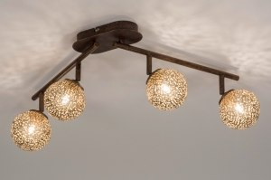 plafondlamp 12170 klassiek eigentijds klassiek brons roestbrons metaal goud brons bruin langwerpig