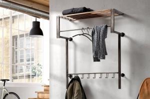 Garderobe 12181 Industrielook laendlich rustikal modern coole Lampen grob Holz Metall Holz Antikmetalldesign