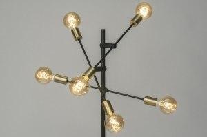 vloerlamp 12216 modern eigentijds klassiek goud messing zwart mat metaal