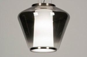 hanglamp 12244 sale modern glas wit opaalglas helder glas staal rvs metaal grijs zilvergrijs staalgrijs rond