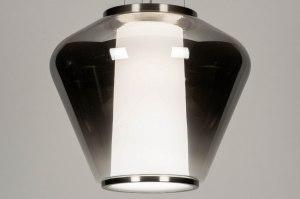 Pendelleuchte 12245 Sale modern Glas mit Opalglas klares Glas Edelstahl Metall grau Silber stahlgrau rund