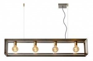 hanglamp 12249 sale industrie look modern stoer raw metaal oldmetal (gunmetal) staalgrijs langwerpig rechthoekig