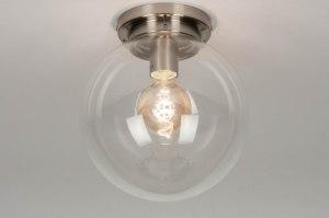 plafondlamp 12304 landelijk rustiek modern retro klassiek eigentijds klassiek art deco glas helder glas transparant kleurloos rond