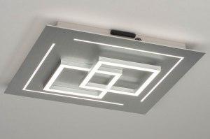 plafondlamp 12413 design modern aluminium geschuurd aluminium metaal aluminium vierkant