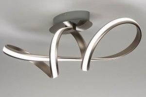plafondlamp 12421 design modern staal rvs kunststof metaal staalgrijs langwerpig