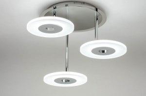 plafondlamp 12426 modern glas mat glas metaal wit chroom rond