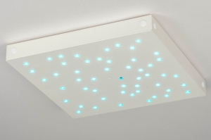 plafondlamp 12427 modern metaal wit mat RGB multicolor vierkant