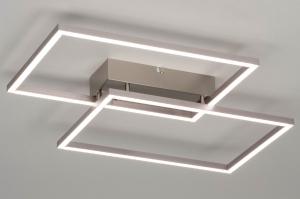 plafondlamp 12428 design modern staal rvs metaal langwerpig rechthoekig