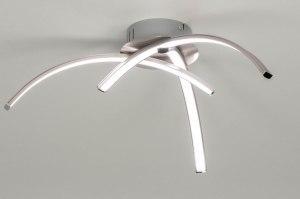 plafondlamp 12431 modern staal rvs metaal staalgrijs rond