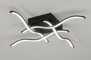 plafondlamp 12436 modern zwart mat aluminium metaal vierkant