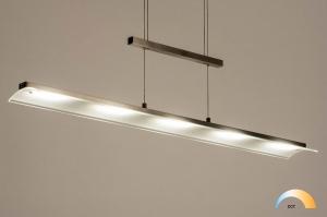 hanglamp 12437 design modern glas mat glas staal rvs staalgrijs langwerpig