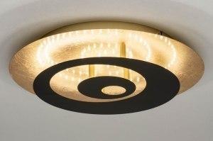 plafondlamp 12447 modern metaal zwart mat goud messing rond
