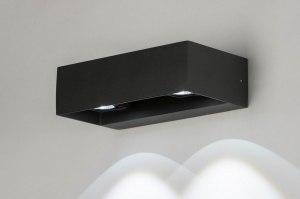 wandlamp 12453 design modern aluminium zwart antraciet rechthoekig