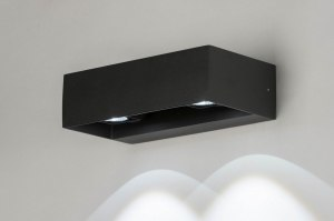 wandlamp 12453 design modern aluminium zwart antraciet donkergrijs rechthoekig