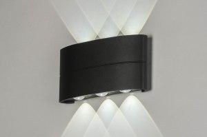 wandlamp 12461 design modern metaal antraciet donkergrijs langwerpig