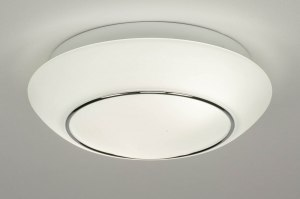 plafondlamp 12469 modern eigentijds klassiek chroom wit mat glas wit opaalglas rond