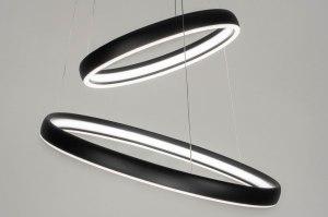 hanglamp 12481 design modern aluminium metaal zwart mat rond