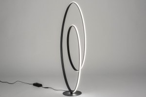 vloerlamp 12495 modern design zwart mat aluminium metaal ovaal