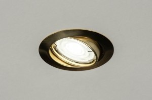 inbouwspot 12502 modern klassiek eigentijds klassiek messing geschuurd metaal goud messing rond