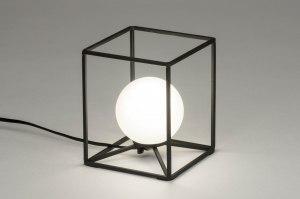 tafellamp 12506 modern glas wit opaalglas metaal zwart wit mat rond vierkant