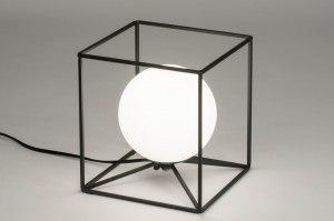 tafellamp 12507 modern glas wit opaalglas metaal zwart wit mat rond vierkant