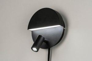 wandlamp 12509 design modern metaal zwart mat rond