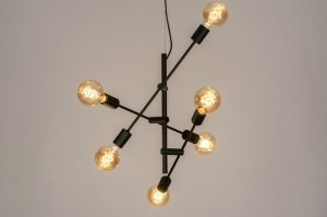 hanglamp 12515 modern retro eigentijds klassiek metaal zwart mat