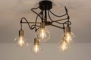 plafondlamp 12517 modern retro eigentijds klassiek glas helder glas metaal zwart mat brons rond