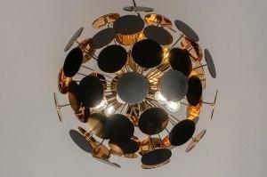 hanglamp 12518 modern retro kunststof metaal zwart mat goud rond