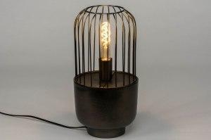 tafellamp 12566 industrie look landelijk rustiek modern stoer raw metaal zwart mat antraciet donkergrijs oldmetal (gunmetal) rond