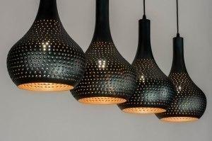 hanglamp 12568 landelijk rustiek modern metaal zwart bruin koper meerkleurig langwerpig