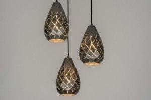 hanglamp 12569 modern metaal grijs staalgrijs rond