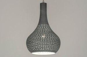 hanglamp 12570 landelijk rustiek modern metaal betongrijs rond