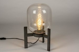tafellamp 12577 industrie look modern stoer raw glas helder glas metaal grijs zilver  oud zilver rond