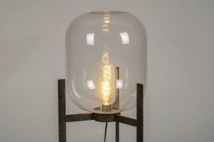 vloerlamp 12578 industrie look modern stoer raw glas helder glas metaal grijs zilver  oud zilver