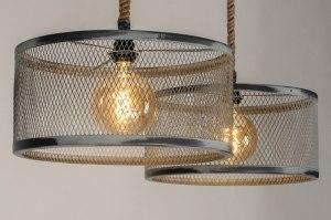 hanglamp 12579 industrie look modern stoer raw staal rvs metaal grijs betongrijs naturel rond langwerpig