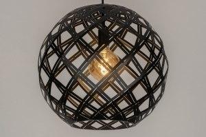 hanglamp 12587 design modern metaal zwart mat rond