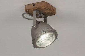 plafondlamp 12590 industrie look landelijk rustiek modern stoer raw hout gegalvaniseerd staal thermisch verzinkt metaal staalgrijs rond vierkant