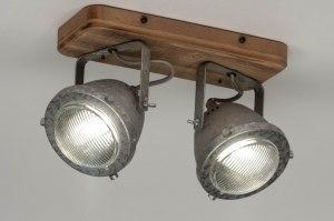 plafondlamp 12591 industrie look landelijk rustiek modern stoer raw hout gegalvaniseerd staal thermisch verzinkt metaal staalgrijs rond langwerpig rec