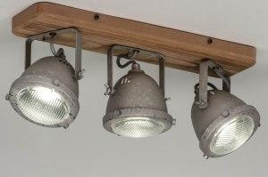 plafondlamp 12592 industrie look landelijk rustiek modern stoer raw hout gegalvaniseerd staal thermisch verzinkt metaal staalgrijs rond langwerpig rec