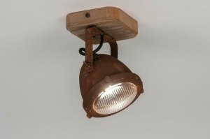 plafondlamp 12593 industrie look landelijk rustiek modern stoer raw hout metaal roest bruin brons rond vierkant